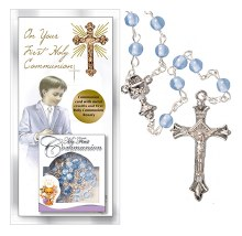 Boy First Holy Communion Card with Blue Rosary Beads