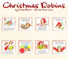 Christmas Robins pack of 8 Cards