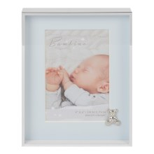 Blue Baby Boy Silverplated Frame with Teddy Bear