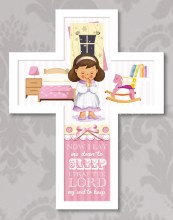 12618 Praying Girl Message Cross 25cm