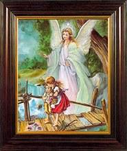 Wood Framed Guardian Angel (26 x 21cm)