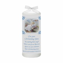 Tradtional Christening Candle Blue and White 15cm