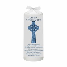 Blue Celtic Cross Baptism Candle