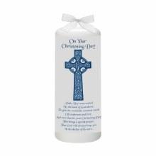 Blue Celtic Cross Baptism Candle