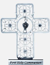 First Holy Communion Pewter Cross with Crystals (7cm)
