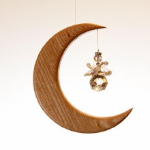 Handcrafted Small Moon with Crystal Angel Suncatcher