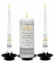 Elegant Rings and Pearls White Wedding Candle