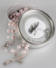 Pink Imitation Pearl Rosary beads