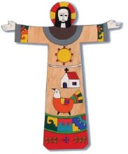 Risen Christ Hand Painted Cross (28cm)