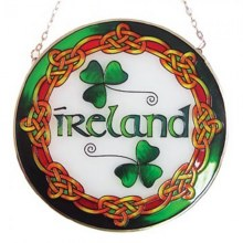 Stain Glass Round Ireland Plaque
