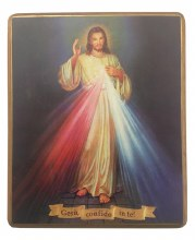 Divine Mercy Icon on Walnut Wood Panel (62 x 82cm)