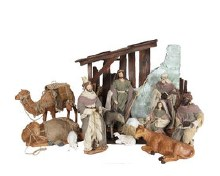 11 Piece Cloth Nativity with camels and Sheep
