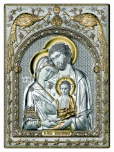 Silver and Gold Holy Family Icon (30 x 25 cm)
