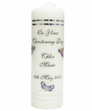 Personalised Butterfly Dream Christening Candle