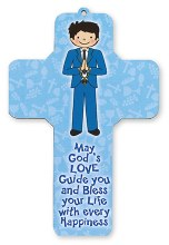Boy First Holy Communion Wood Cross