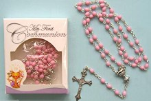 Pink First Holy Communion Rosary Beads