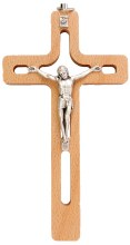 Beech Wood Cut Out Crucifix (15cm)