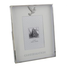 Silver Confirmation Photo Frame with Dove Motif