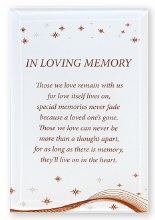 In Loving Memory Glass Plaque