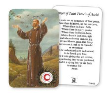 St Francis Prayer Leaflet with Relic