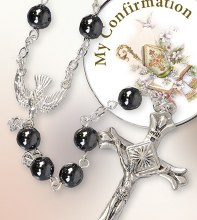Glass Hematite Confirmation Rosary with Presentation Box