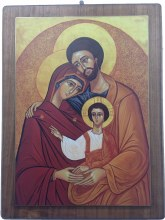Holy family icon on Walnut Wood Panel (62 x 82)