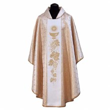 Cream Chasuble with embroidered symbols