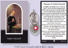 Prayercard to St Gerard with relic medal