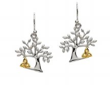 Sterling Silver Tree Of Life Trinity Earrings