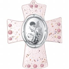 Pink and Silver Guardian Angel Cross (15cm)