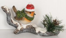 Christmas Robin on Snowy Branch