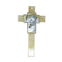 Silver and Gold Holy Family Icon Cross (25cm)
