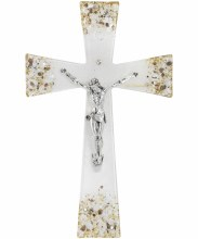 Gianicolo Murano Glass Crucifix with Silver Corpus (34cm)
