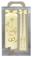 Ivory Rings and Cross Wedding Candle Boxed
