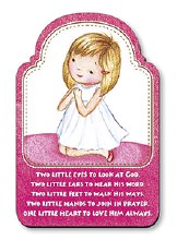 Praying Girl Wood Plaque