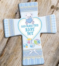 Baby Boy Blessing Porcelain Cross