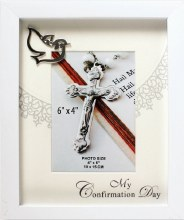 White Wood Confirmation Photo Frame
