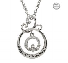Sterling Silver Love Loyalty Friendsh Swarovski Claddagh Pendant