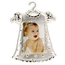 Silver Plated Baby Girl Dress Photo Frame