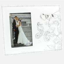 Butterfly White and Silver Wedding Day Frame