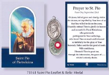 Prayercard to St Pio with relic medal