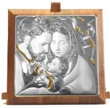 CAQ5 Sterling Silver Holy Family Icon Gold Trim