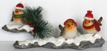 Trio of Christmas Robins on Snowy Branch