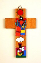 My Guardian angel girl hand painted wooden cross made in El salvadore (14cm)