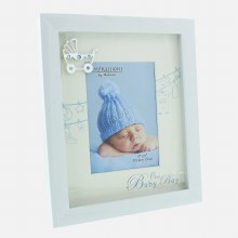 Baby Boy White Photoframe with Silver Icon