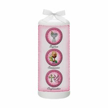 Pink Baptism Candle with Parchment on side