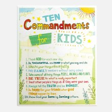 Ten Commandments For Kids Plaque