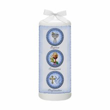 Blue Parchment Christening Candle
