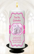Pink Scroll and Booties Baptism Candle