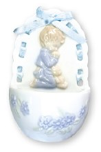 Porcelain Praying Boy Holy Water Font